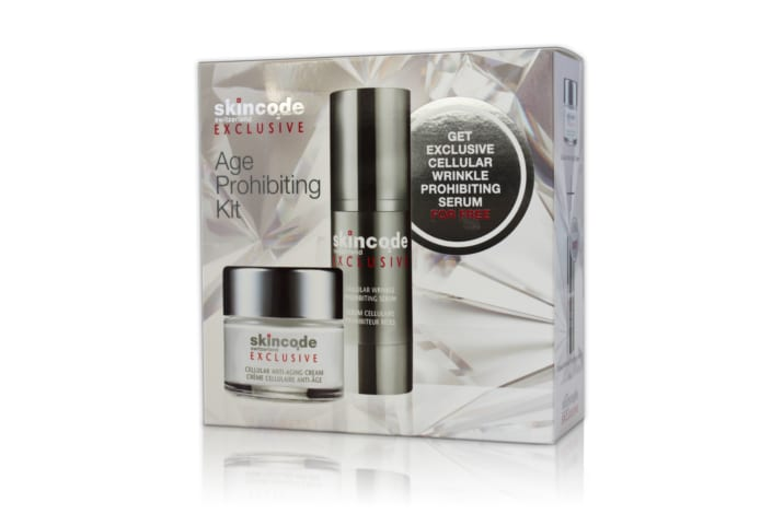 Exclusive gift set containing Anti-Aging Cream and receive the Wrinkle Prohibiting Serum for Free!